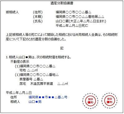 遺産分割協議書の見本